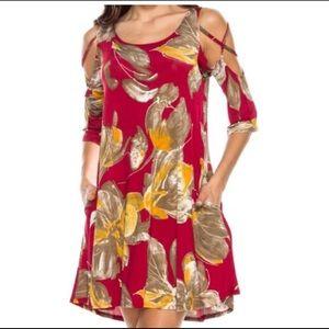 Cold Shoulder Maroon Floral Swing Dress XL